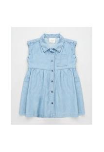 Vestido Jeans Infantil Com Bolso Sem Manga Azul Claro