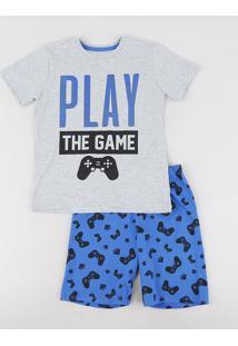 Pijama Infantil Video Game Manga Curta Cinza Mescla