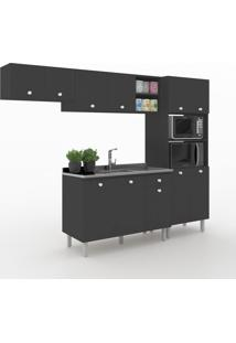 Cozinha Compacta Piazza 11 Portas 1 Gaveta 600025 Preto - Vedere