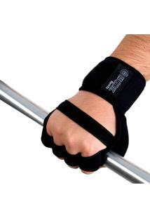 Luva Hook Sports Musculação Com Munhequeira Preta