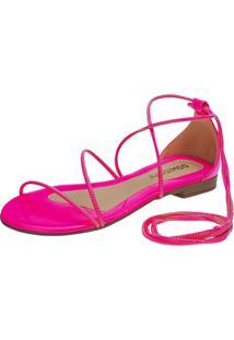 Sandália Feminina Rasteira Domidona Fluorescente Gladiadora Amarração Rosa Neon