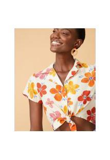 Amaro Feminino Camisa Cropped Manga Curta, Colors Bloom