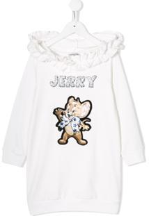 Monnalisa Vestido Jerry Com Bordado E Capuz - Branco