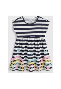 Vestido Malwee Kids Infantil Listrado Azul-Marinho/Off-White