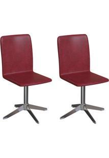 Conjunto Com 2 Cadeiras Raglan Vinho E Cromado