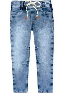Calça Moletom Jeans Bebê Menino Com Elástico Com Cós