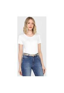 Camiseta Dudalina Bordado Off-White