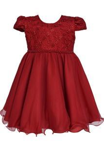 Vestido Para Bebê Nelu Festa Vermelho