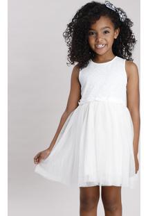 Vestido Infantil Em Tule Com Brilho E Paetê Sem Manga Off White
