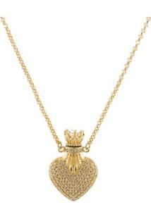 Colar Barbara Strauss Siena Coração Em Zircônia Transparente Revestido Em Ouro 18K - Feminino-Dourado