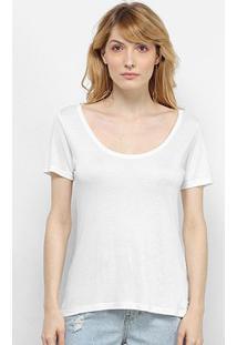 Camiseta Cantão Decote Canoa Feminina - Feminino-Off White