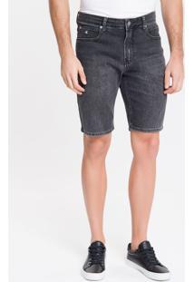 Bermuda Jeans Six Pckts Bordado Ck One - Preto - 36