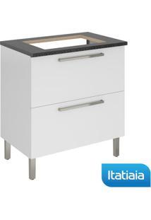 Módulo Cozinha Gabinete Com Tampo Dandara Cooktop 4B 2 Gavetas - Igh1G1-80 - Branco - Aço - Itatiaia