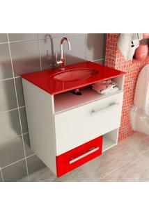 Gabinete Linea 17 60 Cm 1 Porta 1 Gaveta Branco & Vermelho