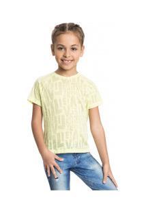 Camiseta Live See Feminina - Infantil - Amarelo Claro