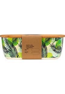 Porta Pão Em Fibra De Bambu 36,3X20,5Cm Bege E Verde