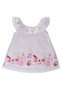 Vestido Linha A Acetinado Docinhos - Anjos Baby Bege