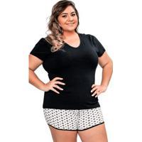 f2401d9f9 Pijama Short Doll Manga Curta Plus Size Luna Cuore - Feminino-Preto