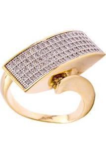 Anel Ouro Diagonal Com Micro Zircônias Bruna Semijóias