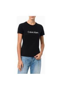 Camiseta Gola Careca Preta Calvin Klein