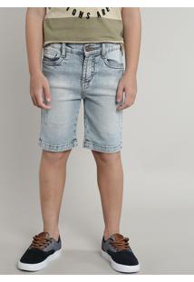 Bermuda Jeans Infantil Com Puídos Azul Claro