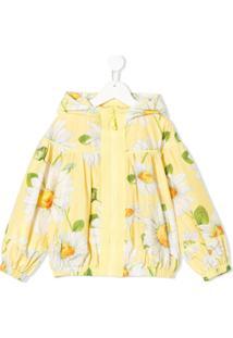 Monnalisa Jaqueta Bomber Floral Com Capuz - Amarelo