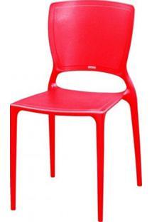 Cadeira Sofia Encosto Fechado Polipropileno Vermelho - 18750 - Sun House