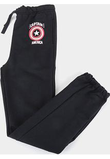 Calça Moletom Infantil Marvel Capitão América Masculina - Masculino-Preto