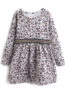 Vestido Brandili Infantil Onça Cinza