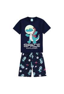 Pijama Infantil Kyly Bermuda E Camiseta Jacaré Azul Marinho