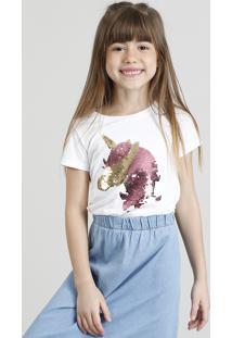 Blusa Infantil Unicórnio Com Paetê Dupla Face Manga Curta Decote Redondo Branca