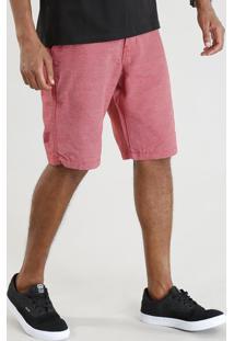 Bermuda Masculina Reta Texturizada Vermelha