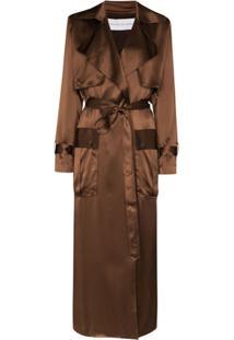Michael Lo Sordo Trench Coat De Seda Com Cinto - Marrom