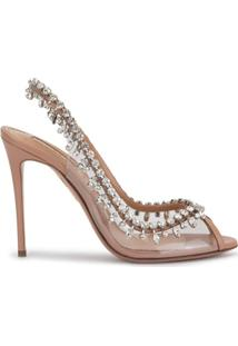 Aquazzura Temptation Crystal-Embellished Peep-Toe Sandals - Neutro