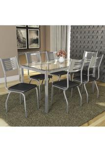 Conjunto Kappesberg Crome Mesa Reno Tampo De Vidro Com 6 Cadeiras Munique