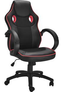Cadeira De Escritório Diretor Giratória Gamer Fighter Preta E Vermelha