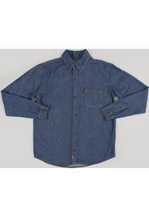 Camisa Infantil Jeans Manga Longa Com Bolso Azul Escuro