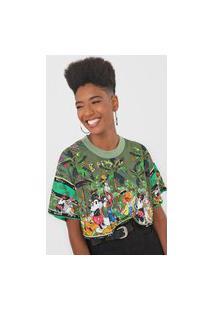 Camiseta Cropped Colcci Disney Verde