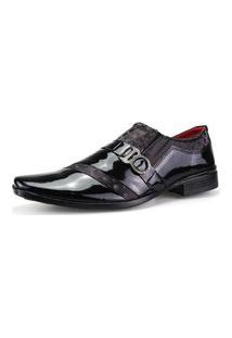 Sapato Social Dhl Calçados Neway Estampa Preto E Vinho