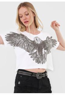 Camiseta Cropped John John Big Eagle Off-White