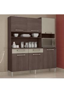 Cozinha Compacta 6 Portas 2 Gavetas Valéria 6174 Capuccino/Off White - Poquema