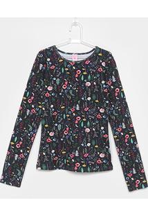 73251dec0 Camiseta Infantil Lilica Ripilica Floral Manga Longa Feminina - Feminino