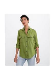 Camisa Manga Longa Lisa Com Botões Tartaruga E Bolsos | Marfinno | Verde | Pp