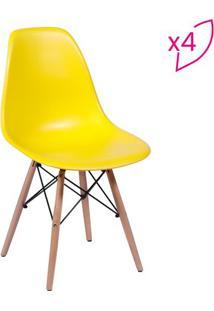 Jogo De Cadeiras Eames Dkr- Amarelo & Madeira- 4Pã§S