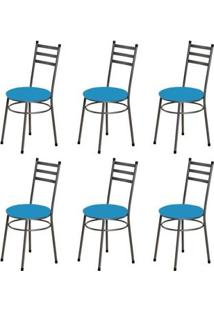 Kit 6 Cadeiras Baixas 0.135 Redonda Craqueado/Azul - Marcheli