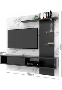 Painel Home Para Tv Até 60 Polegadas 3 Prateleiras 2 Nichos Atlântico Colibri Móveis Calacatta/Preto Fosco