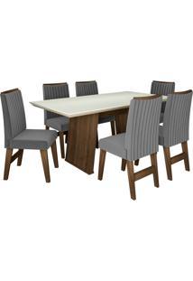 Conjunto De Mesa Para Sala De Jantar Com 6 Cadeiras Vigo -Dobuê Movelaria - Castanho / Branco Off / Grafite Bord