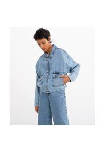 Jaqueta Oversized Jeans Lisa Com Bolsos Frontais | Marfinno | Azul | G