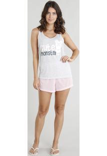 "Pijama Feminino Regata ""Cute Monster"" Cinza Mescla Claro"