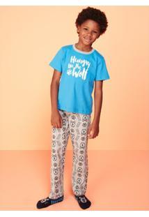 Pijama Infantil Puket Lobo - Masculino-Azul